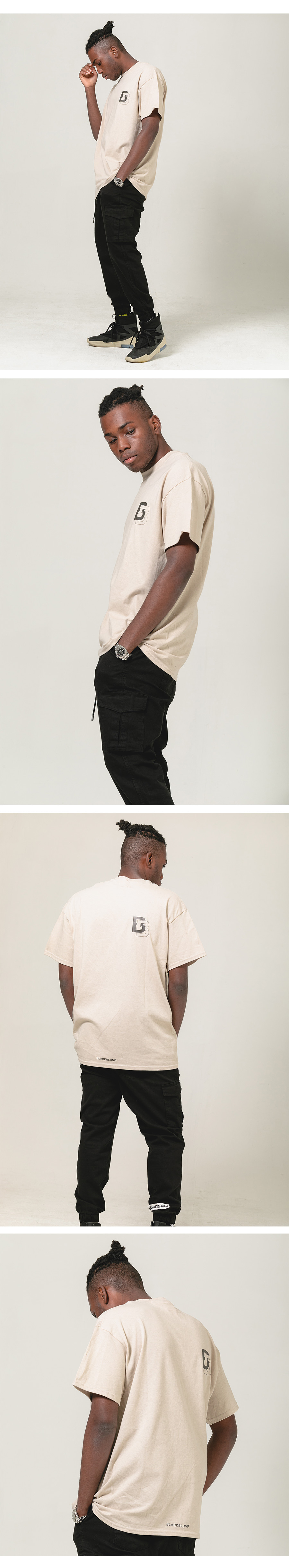 블랙블론드 BLACKBLOND - BBD Double B Logo Short Sleeve Tee (Sand)