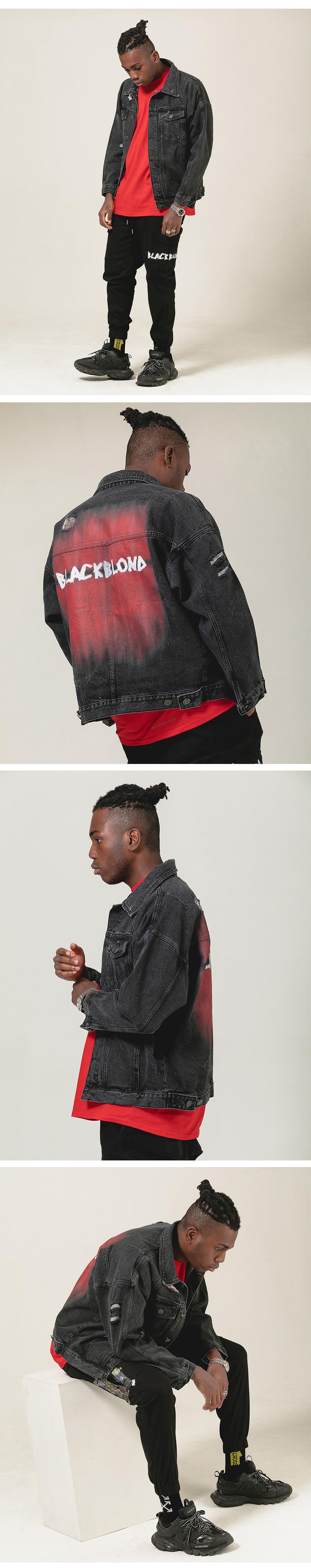 블랙블론드 BLACKBLOND - BBD The Last Blood Denim Jacket (charcoal)