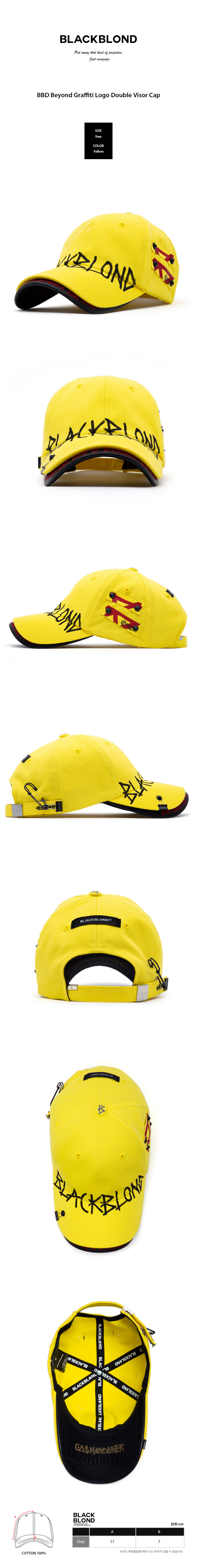 BLACKBLOND - BBD Beyond Graffiti Logo Double Visor Cap (Yellow)