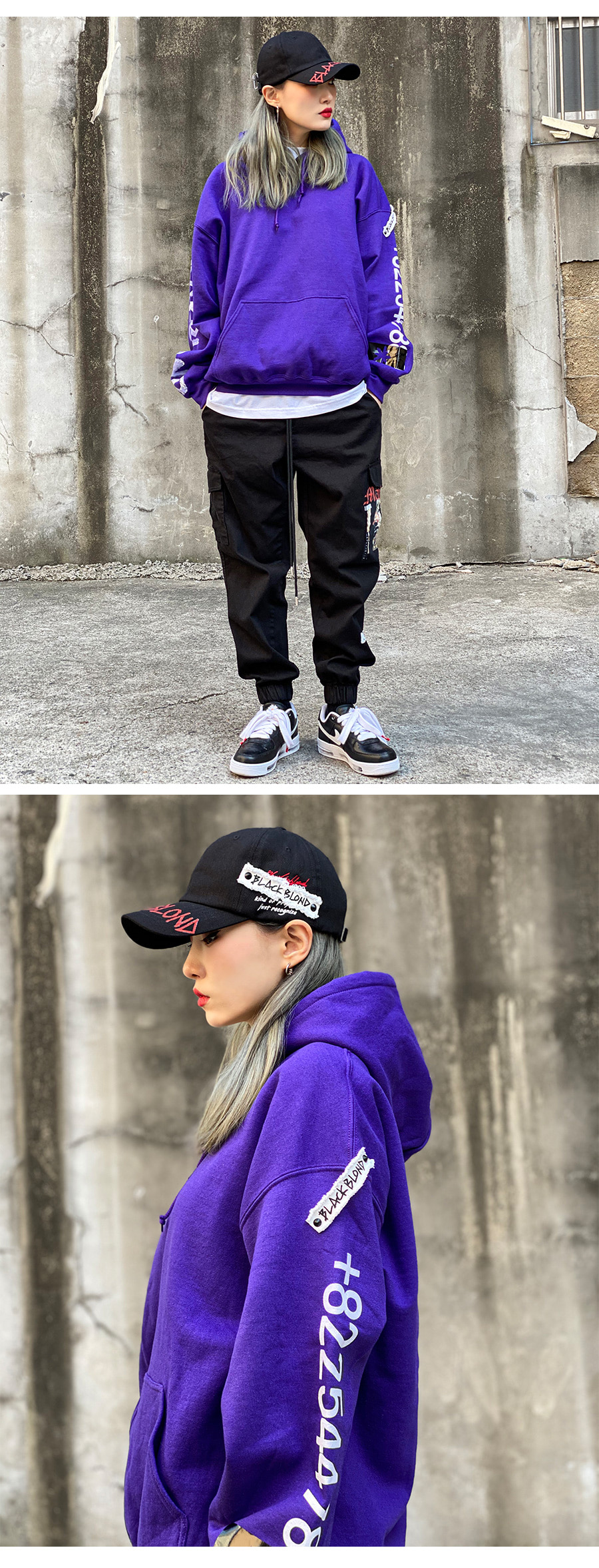 BLACKBLOND - BBD Graffiti Number Hoodie (Purple)