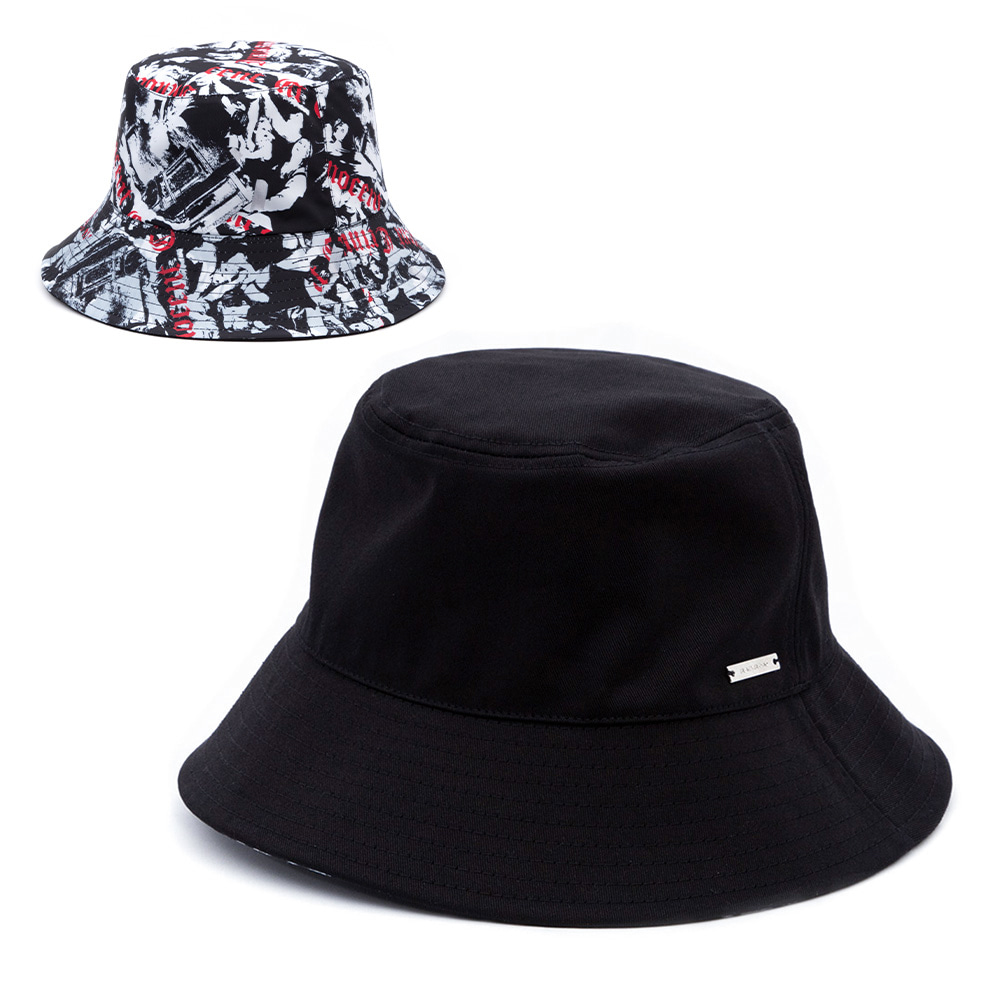 BBD Innocent Reversible Plate Bucket Hat (Black)
