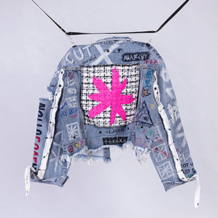 BBD Graffiti Crop Denim Jacket (Light Blue)
