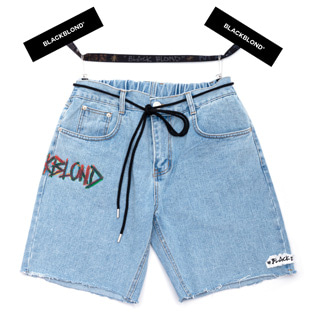 BBD Painted Graffiti Logo Denim Shorts (Light Blue)