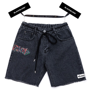 BBD Painted Graffiti Logo Denim Shorts (Black)
