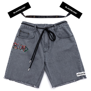 BBD Painted Graffiti Logo Denim Shorts (Dark Gray)