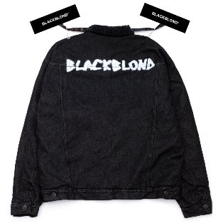 BBD Shearling Collar Graffiti Logo Denim Jacket (Black)